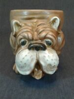 VINTAGE CERAMIC BROWN BULLDOG PLANTER VASE, JAPAN