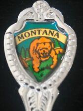 Montana State Souvenir Spoon Bear Silver Metal