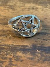 Men's Pentagram Ring in Sterling Silver Size 12 Gothic Jewelry Solid 925