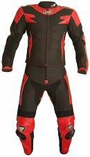 Survivor Two-Piece Black & Red Curdura and Leather Mixed Motorcycle Touring Suit