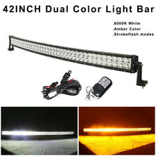 42 inch Amber/White Stroboflash Offroad Led Light Bar Driving & Wiring Remote