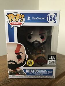 GOD OF WAR POP Vinyl KRATOS WITH BLADES OF CHAOS Glow in the dark #154 Protector