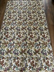 """TAPESTRY material 92x52"""" large fruit butterfly birds leaves cream purples EUC"""