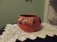 Vintage FRANK MORENA POTTERY HANDMADE Bowl Planter Drip Glazed USA #1 Orange