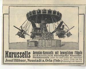 Josef Hübner, Neustadt a. Orla Thür. Aeroplan- Karussels Histor. Werbung 1912