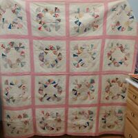 "Vintage 30s Hand Quilted Pink & White Cotton Scrap Quilt Double Size 90"" x 105"""