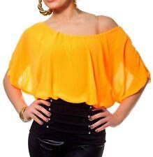 Sexy Damen Chiffon Pump Long Bluse Shirt Fledermaus 34/36/38 TOP schwarz orange