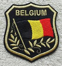 BELGIUM FLAG IN SHIELD PATCH Embroidered Badge 7 x 8cm Belgique België Iron Sew