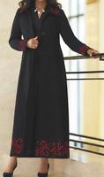 Ashro Tabatha Duster Dress Coat Jacket Black Red Embroidered Sz S M L XL Aggies