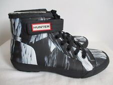 Hunter Rain Boots Womens Ankle Nightfall Lace Up Black White Gray UK 8 US 10 New
