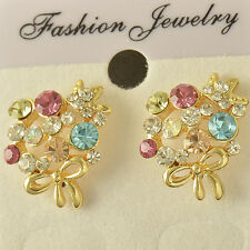 Love-Knot 14K Yellow Gold Filled Multi Colour crystal Crystal earing