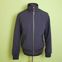 Bershka Mens Bomber Jacket Size Medium Navy Blue Cotton Harrington