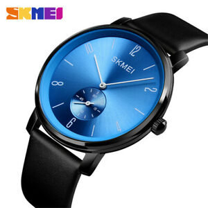 SKMEI Fashion Quartz Watch Male Leather Strap Business Wristwatch Men Watches
