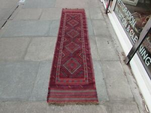 Vintage Hand Made Afghan Mushvani Oriental Red Blue Wool Narrow Runner 233x59cm