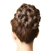 Wavy Curly Synthetic Hair Bun Cover Hairpiece Clip in Scrunchie Extensions WS