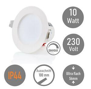 IP44 LED Dimmbar Einbaustrahler Bad 10W Einbauleuchte Badezimmer 3000K Badlampe