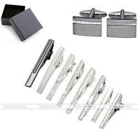 Men's 1/3/5/8pcs Steel Necktie Tie Clip Bar Clasp Pin Cuff Links Clamp Cufflinks