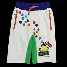 Ron Bass Censored Shorts Size Small Mens White with Primary Colors Dot Print