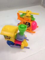 Vintage Wind Up Toys Bright Plastic Train & Helicopter Working Set of 2