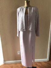 Black Tie Oleg Cassini Beaded Pearl Jacket Long  Sleeveless Dress Sz 6 (M) Pink
