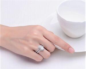 Pear Shaped 2ct. SONA NCSD Diamond Sterling Silver Halo Wedding Ring Set