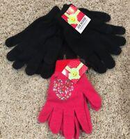 Girls Black Pink Heart Joe Boxer Texting Gloves 3 Pair