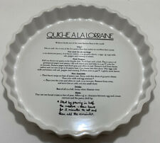 CERAMIC ROUND FLUTED FLAN QUICHE LORRAINE RECIPE ON THE BASE DISH