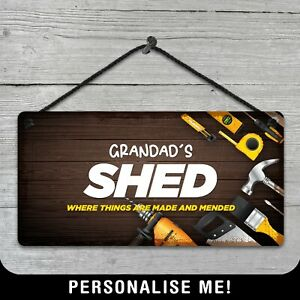 Personalised Hanging Shed Sign Metal Plaque Man Cave Beer Garage Grandad Gift