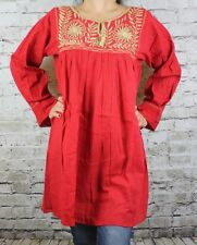 Red Handmade Rococo Mexican Tunic Blouse Mini Dress Oaxaca 100% Cotton Small