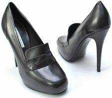 Vera Wang 9.5 Lavender Label Black Leather Talli High Heel Loafers Plataform 9.5