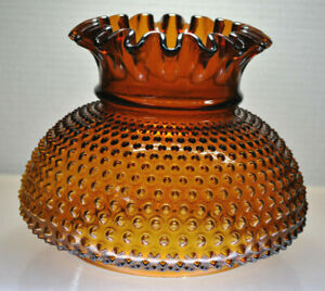 "LARGE VINTAGE AMBER HOBNAIL FLARED HURRICANE GLOBE REPLACEMENT 6-7/8"" BASE"