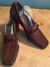 Stuart Weitzman Brown Perforated Suede Leather Classic Pump Shoes Beads Sz 8 M