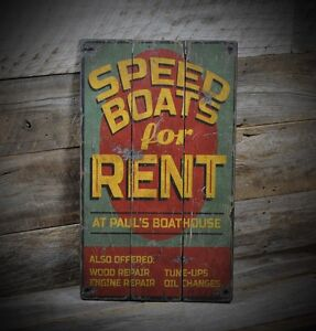 Custom Speed Boats For Rent Lake House Sign - Rustic Hand Made Wooden