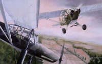 """""""Duel in the Sun"""" Burt Mader L-4 Piper Cub Print co-signed by Lt. Duane Francies"""