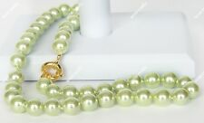 8 mm green South Sea Shell Pearl Round Gemstone Necklace AAA Grade 18""