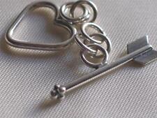 Bali sterling silver bead~ Heart toggle~w/arrow bar~clasp-Q-2-13mm, metal