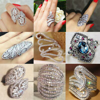925 Silver Filled White Sapphire Gem Cross Crystal Rings Wedding Set Jewelry