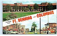 Greetings from Ft. Benning and Columbus Georgia GA Vintage Postcard E01