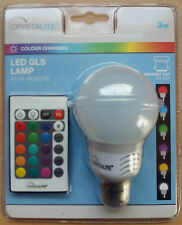 3w LED Colour Changing BC Push In B22 GLS Bulb Lamp Remote Flash Strobe Fade