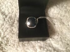 9 3/8 CTW Natural London Blue Topaz and Diamonds in 14K White Gold Ring NWT