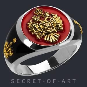 Russland Ring 925 Silber Russischer Adler Siegelring Sankt St Georg Russia Krone