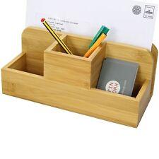 Bamboo Pen Holder Letter Rack, Stationery Organiser