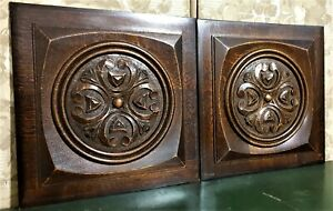 Pair scroll leaf decorative carving panel Antique french architectural salvage