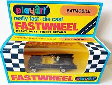 1970's PLAYART FASTWHEELS Diecast BATMOBILE Model in Repro Batman Window Box [d]