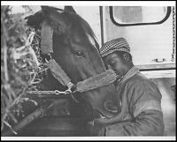 SECRETARIAT & EDDIE SWEAT ON THE PLANE TO KENTUCKY - ORIGINAL 1973 8X10 PHOTO!