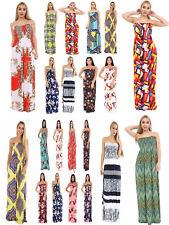 Ladies Sheering Maxi Dress Boobtube Strapless Bandeau Long Top Summer size 8-24
