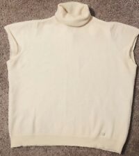 Escada  Ivory Turtleneck wool sleeveless sweater vest Cropped Top S Small
