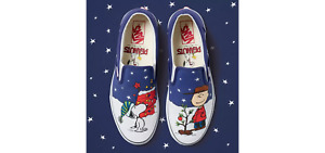 NEW RARE Vans KIDS Christmas Peanuts Classic Slip-On Shoes Charlie Brown Snoopy