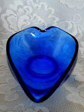 Unusual Collectible Vintage Cobalt Blue Blown Glass Sauce Serving Bowl