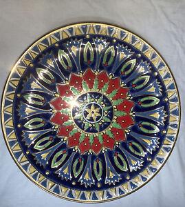 "Beautiful 9 1/2"" Hand Painted Gold Leaf Plate  Neofitoy Keramik Rodas Greece"